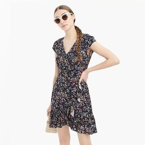 Ruffle-front mini dress soft rayon tapestry floral